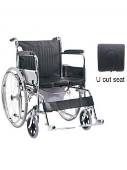 Medequip Commode Wheelchair with U cut Seat